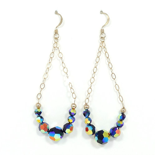 SWAROVSKI MULTI-COLORED CRYSTAL & GOLD CHAIN EARRINGS