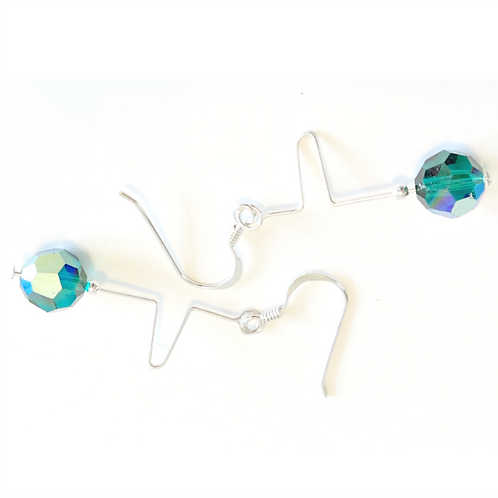 SWAROVSKI EMERALD SQUIGGLE EARRINGS