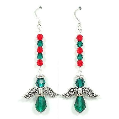 SWAROVSKI CRYSTAL CHRISTMAS ANGEL EARRINGS