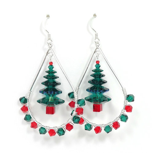 SWAROVSKI CRYSTAL CHRISTMAS TREE HOOP EARRINGS