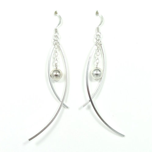 STERLING SILVER CURVED DANGLE EARRINGS