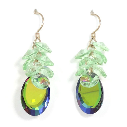 SWAROVSKI PERIDOT-MIRROR CLUSTER DANGLE EARRINGS