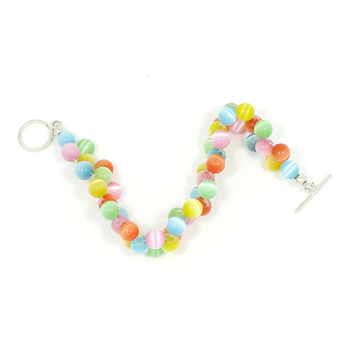 MULTI-COLORED CATSEYE WOVEN BRACELET