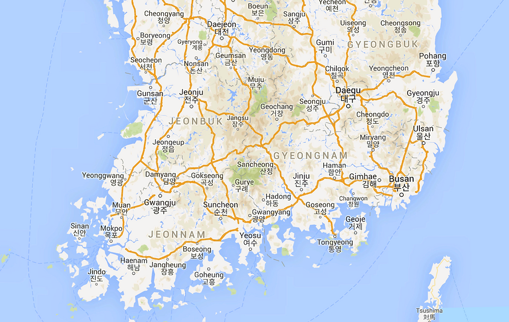 The southern part of the Korean Peninsula
