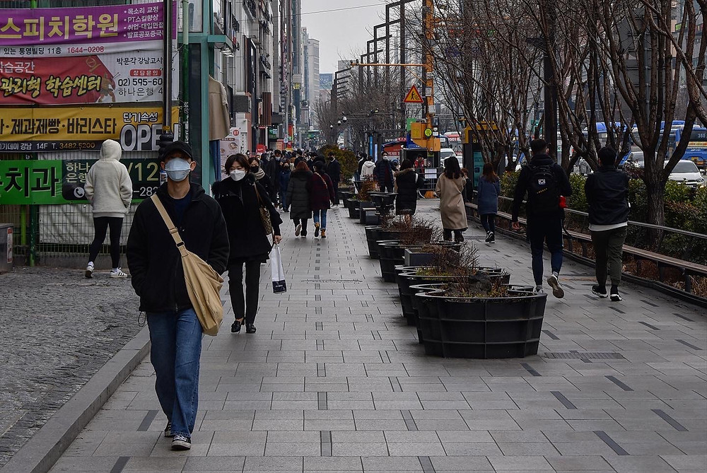 Normally one of the most bustling areas of Seoul, the crowds in Gangnam are more sparse and everyone is opting to wear a mask