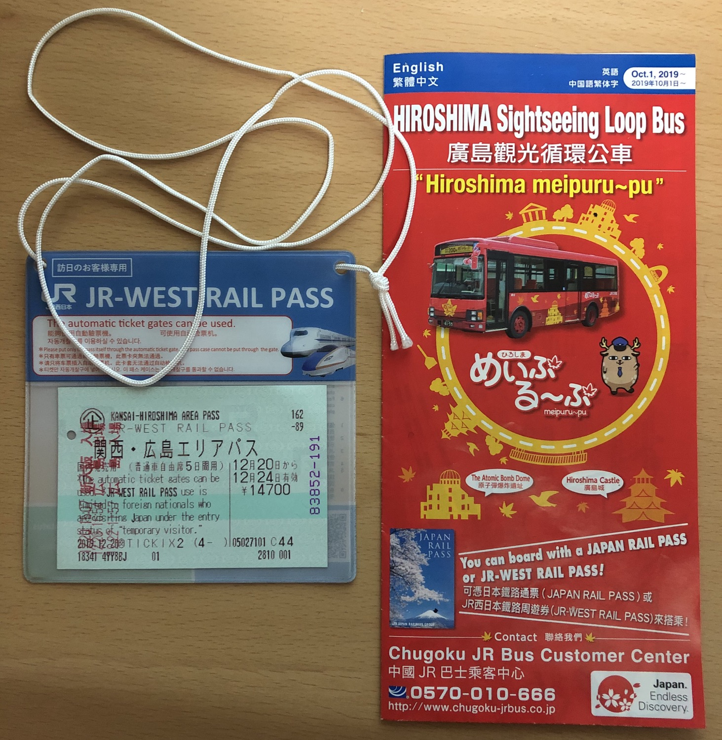 The JR-West Rail Pass and the brochure for the sightseeing loop bus