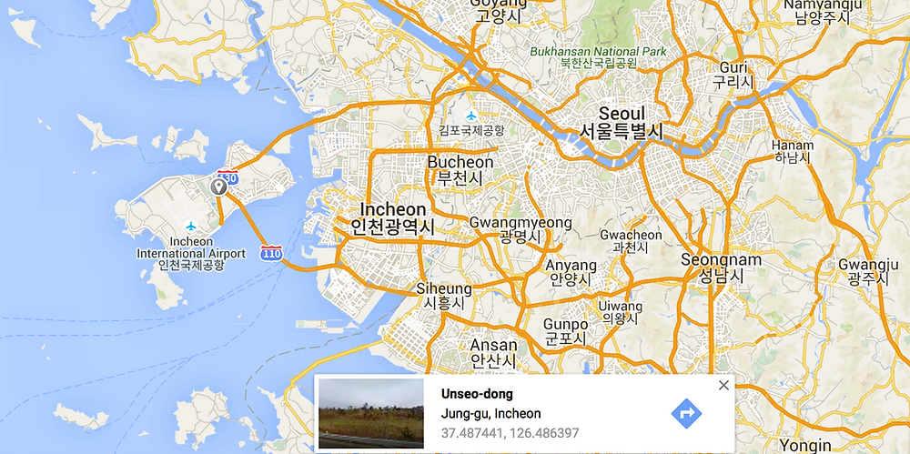 The grey pin is where I'm staying in Seoul. It's on the Unseo Airport Railway stop.