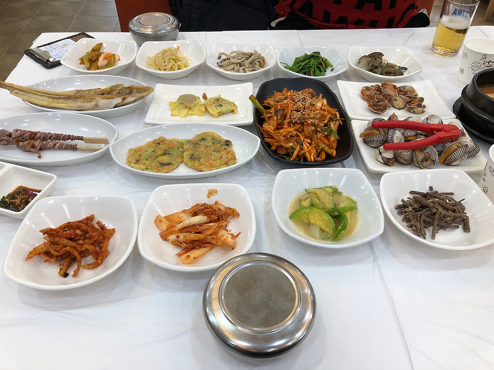 The typical layout at a traditional Korean restaurant