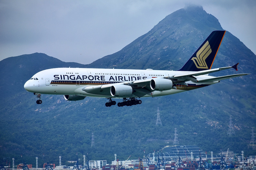 One of Singapore Airlines' Airbus A380's landing in Hong Kong. Photo Credit: IG: @wahphotography