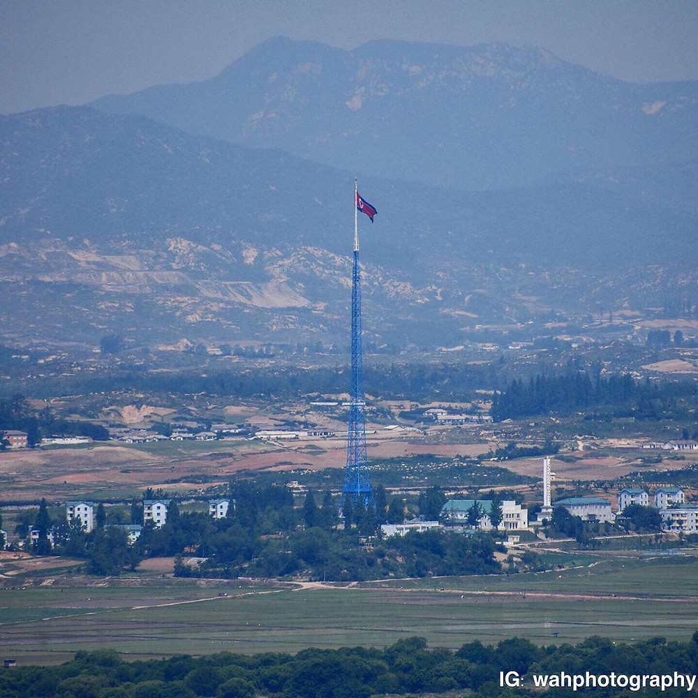 The 160m tall North Korean flag on the North Korean side of the DMZ