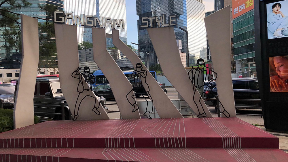 A monument to Psy and his global phenomenon song and dance, Gangnam Style