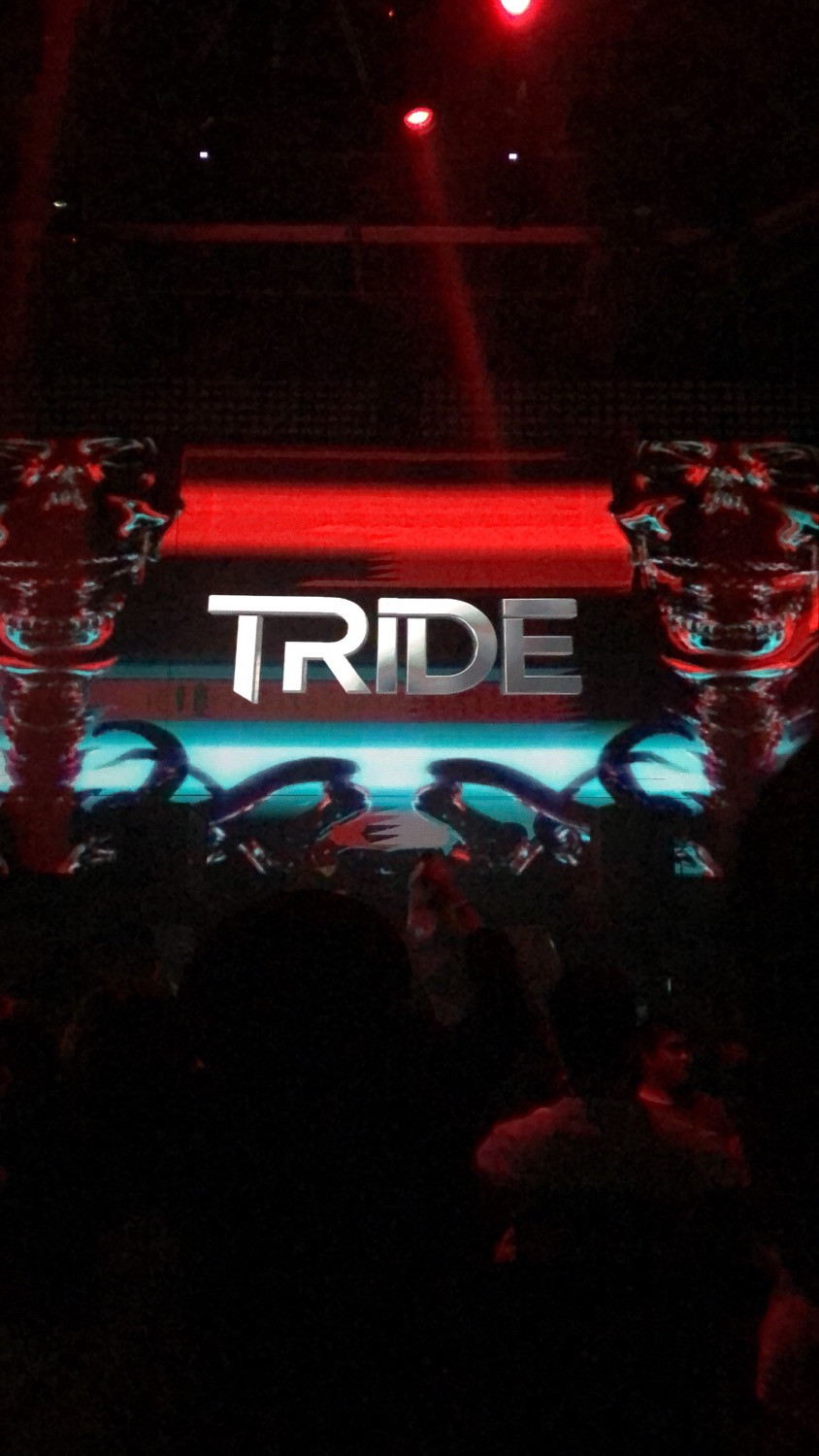 Tride features his personalized graphics on the large LED screen behind the DJ booth