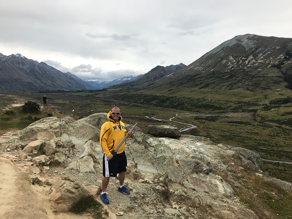 "Getting my nerd on in Erehwon, Canterbury, New Zealand (Erehwon is ""Nowhere"" spelt backwards by the way) at the site of the filming of the Lord of The Rings trilogies in 2017."