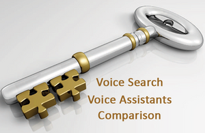 Voice search, voice assistants comparison shown with a silver key with gold puzzle pieces at the end