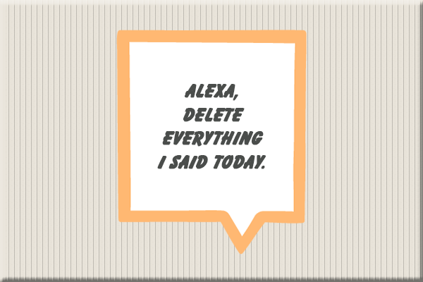 Word bubble with Alexa, Delete everything I said today text.