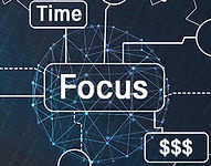 Network mesh of time, focus, money symbol