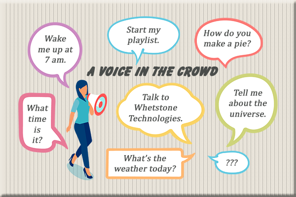 Voice bubbles with questions for voice assistants