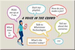 Voice bubbles with questions for voice assistants