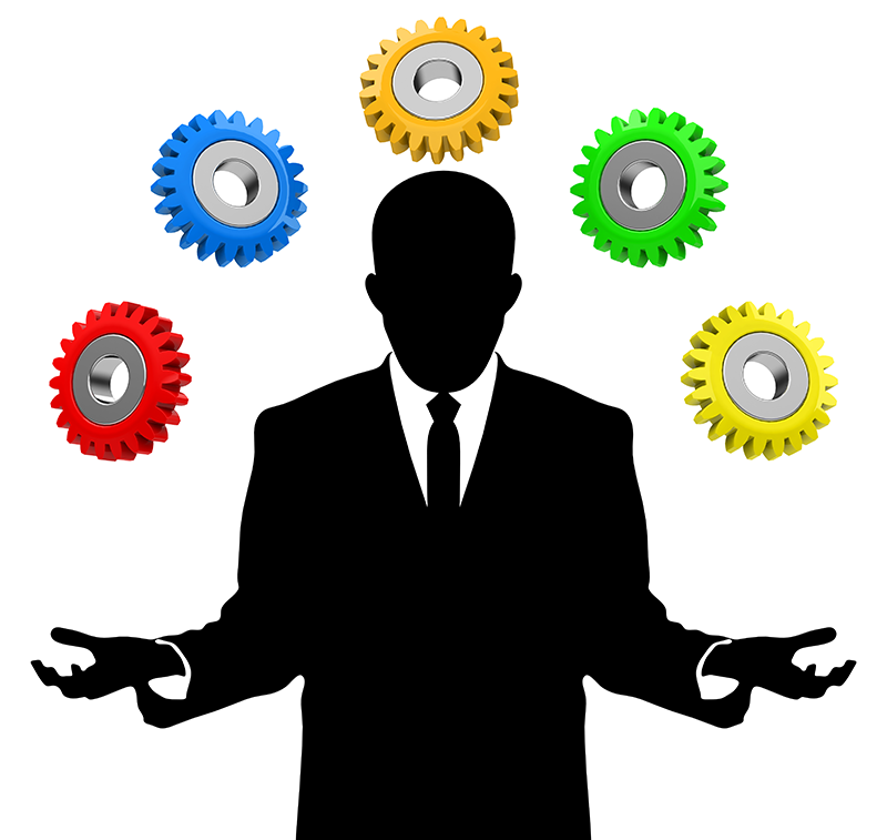 A man juggling gear icons