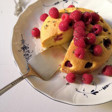 Raspberry Thyme Cake