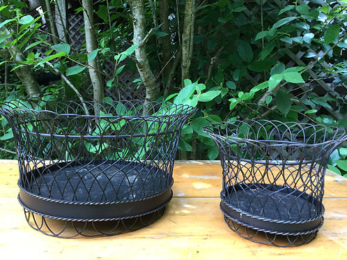 French Wire Basket Containers - Small Round