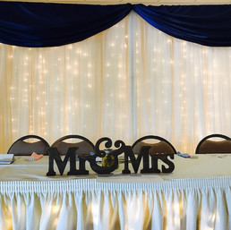 Classic Backdrop with Simple Navy Swag
