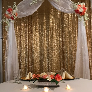 Sweetheart Table with Gold Backdrop