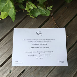 Handmade Bespoke Wedding Invitations Formal