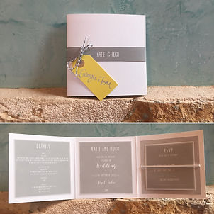 Handmade Bespoke Wedding Invitations Square Trifold