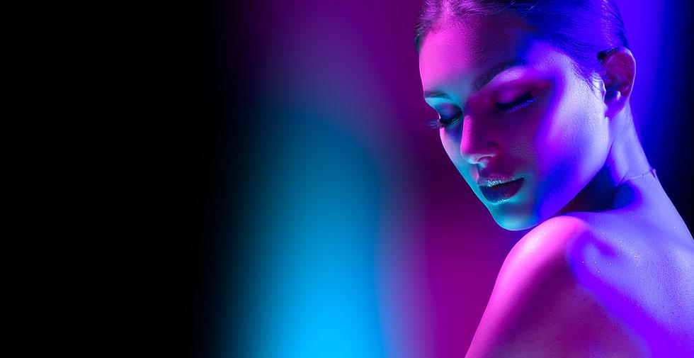 High Fashion model woman in colorful bri