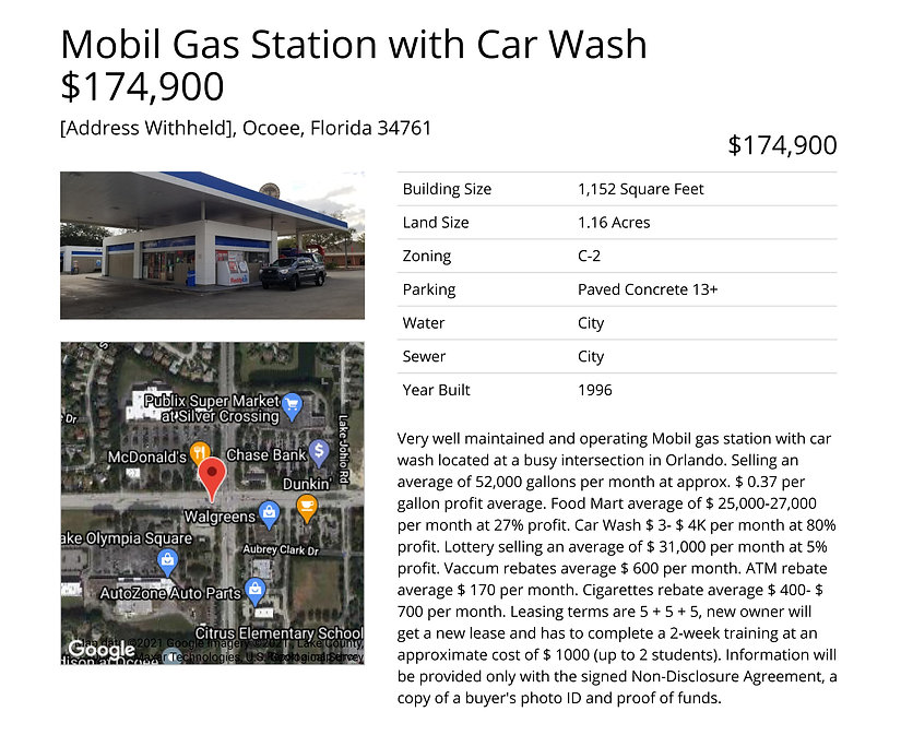 Mobil Gas Station with Car Wash $174,900