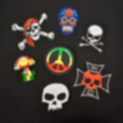 Skull patches, peace sign, mushroom