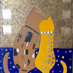Klimt Kissing Kitty Canvas Painting Advanced private lesson only