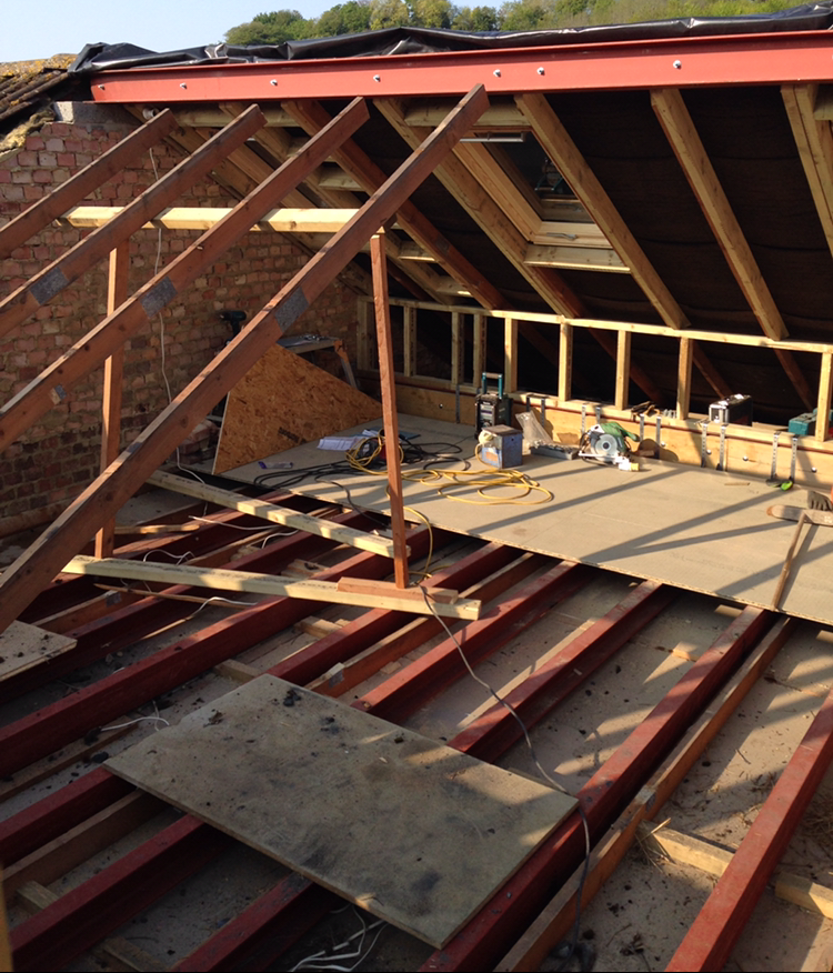 Loft conversion under construction