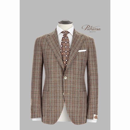 Giacca Principe di Galles con overcheck color mattone in cashmere e lana vergine