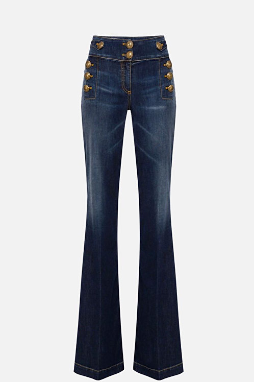 Jeans a palazzo con bottoni Elisabetta Franchi