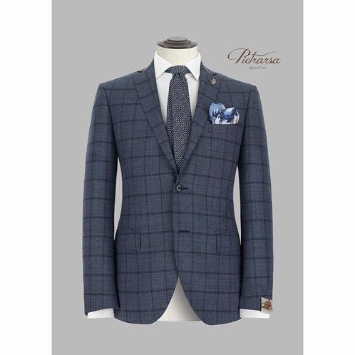 Giacca Principe di Galles con overcheck tono su tono in lana vergine.