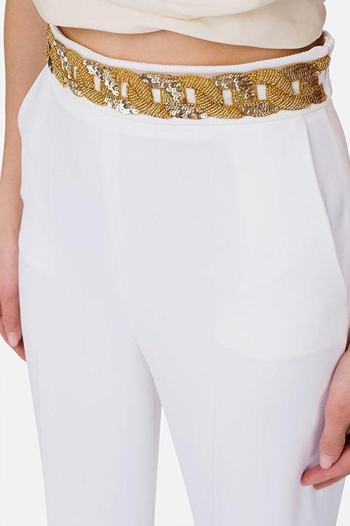 Pantalone in crepe con inserto in pailettes Elisabetta Franchi.