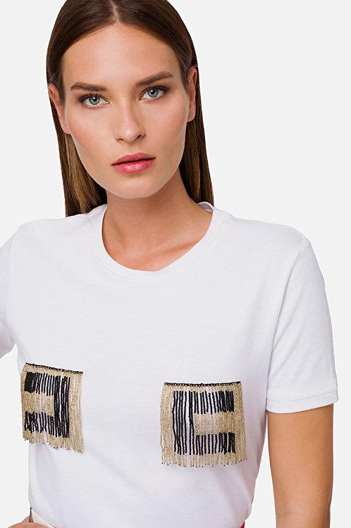 T-shirt con logo perline Elisabetta Franchi.