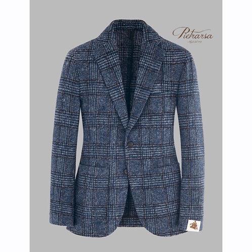 Blazer Principe di Galles leggero in jersey di lana bouclé con effetto fuso.