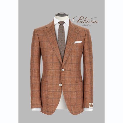 Giacca disegno check fuso su base fiammata in lana vergine, seta e lino.