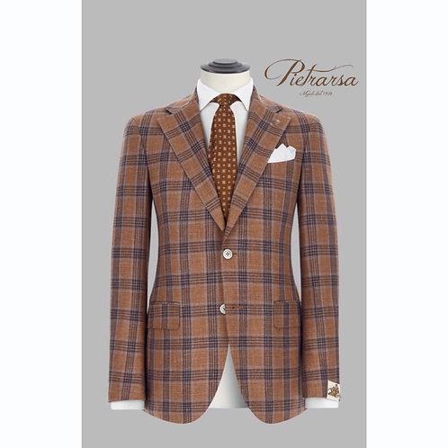Giacca madras a tre colori in mischia di lana vergine, seta e lino.