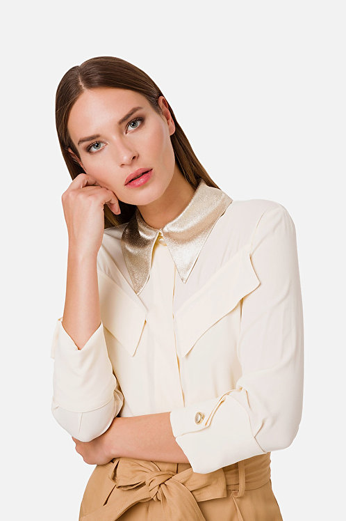 Camicia in crepe con colletto in lamé Elisabetta Franchi.