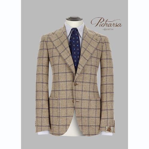 Giacca effetto stuoia in lana, cotone e cashmere.