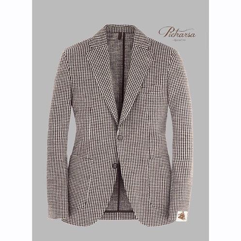 Blazer pied de poule in jersey di lana e cotone mouliné.