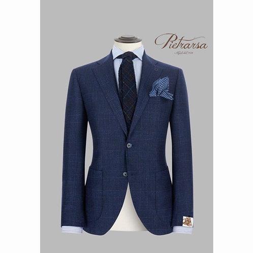 Giacca in lana, seta e cashmere, disegno Principe di Galles fuso.