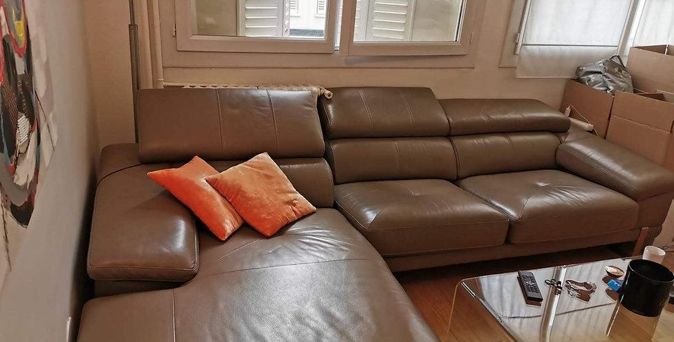 Canapé d'angle Cuir VEX taupe