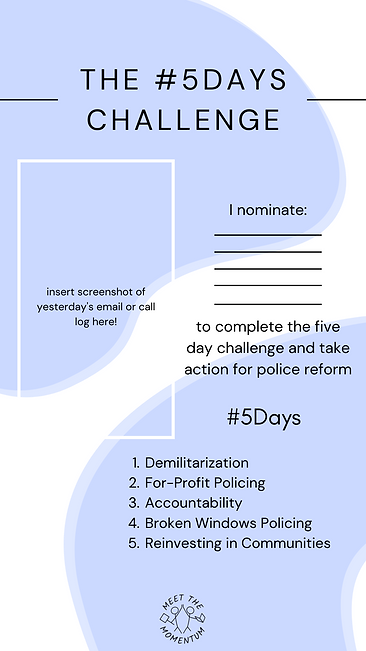 #5Days Challenge template, with spaces to nominate, upload an image of an email screenshot, and a list of policy areas