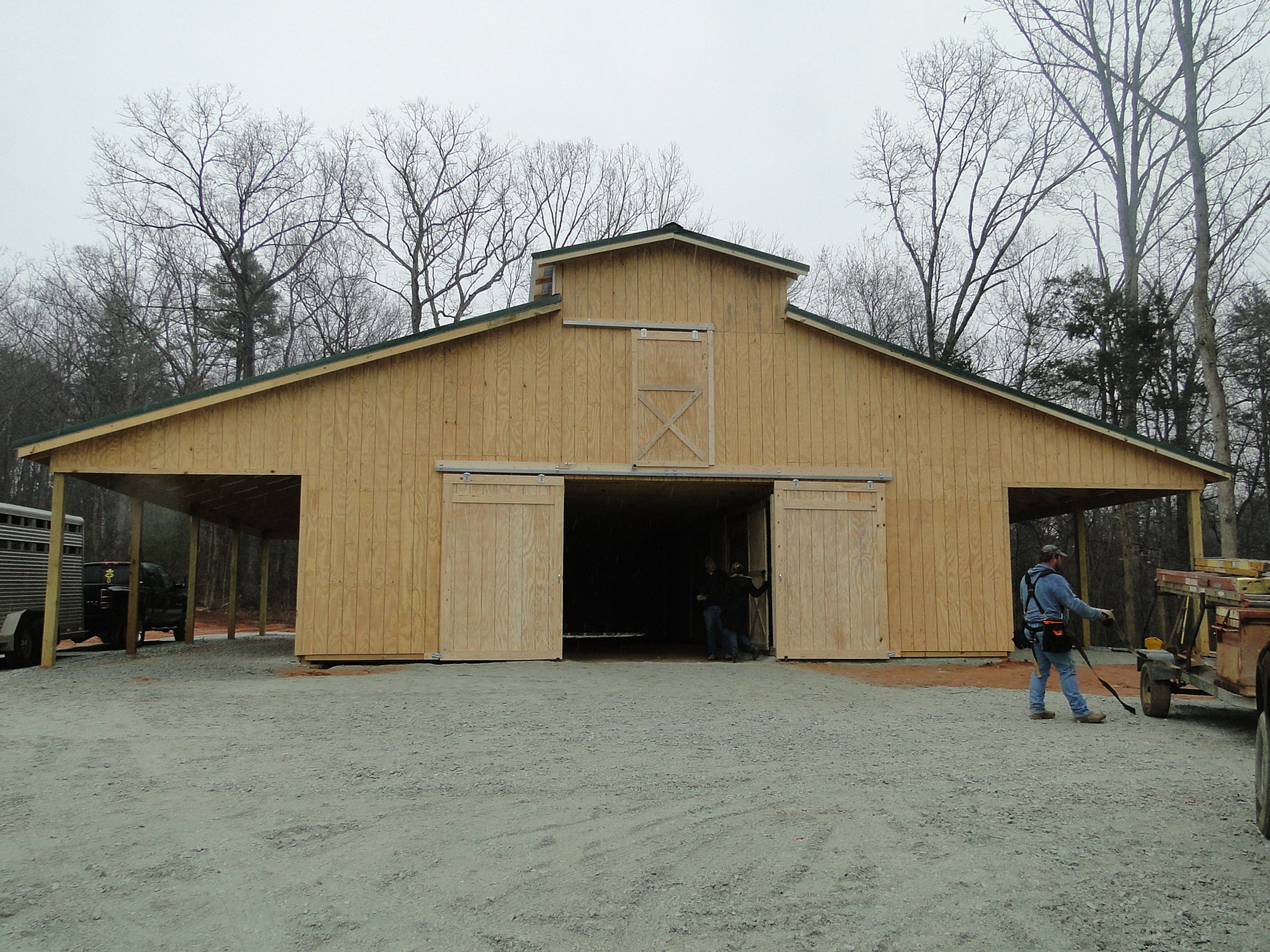 Wood Sided Pole Barn With Loft