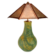 """#41516 'turquoise"""" lamp with clear silver mica shade"""